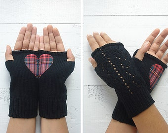 VALENTINE'S Day GIFT, EXPRESS Shipping, Fingerless, Heart Gloves, Black Gloves, Plaid, Gift For Her, Valentine's Gift Idea, Scotch, Unique