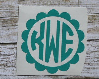 Scallop Monogram Decal / Monogram sticker / monogram / initial monogram / vinyl decal / car decal / tumbler decal / circle monogram