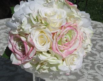 Romantic Silk Bride Bouquet-pink,white roses, Hydrangeas,white peonies Bridal Decor
