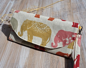 Women's Fabric Wallet - Elephant Design Ladies Large Fabric Wallet - Women's Organizer Wristlet Wallet