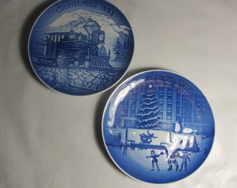 "Sale!  B&G-Fine Porcelain- Two Plate Lot-Christmas in America Series 1988 and 1993-""Rockefeller Center"" and""Coming Home"""