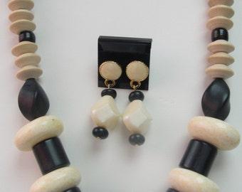 Black & Beige Necklace Set