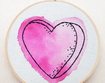 Watercolor Heart Pink Hand Embroidery Hoop Art Ombre Wall Art Valentines Day Embroidery Love Embroidery Relationship Gift Heart Wall Art