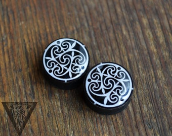 Plugs Celtic mandala image ear wooden gauge 4,5,6,8,10,12,14,16,18,20,22,24,25-60mm;6g,4g,2g,0g,00g;1/4,5/16,3/8,1/2,9/16,5/8,3/4,7/8,1 1/4""