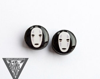 Pair Plugs No Face image ear wood tunnels anime 4,5,6,8,10,12,14,16,18,20,22-60mm;6g,4g,2g,0g,00g;1/4,5/16,3/8,1/2,9/16,5/8,3/4,7/8,1 1/4,1""