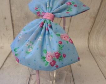 Floral Fabric Headband Aliceband Hairband Bow Ditsy Blue Pink Flower Handmade Ribbon Girls Gift