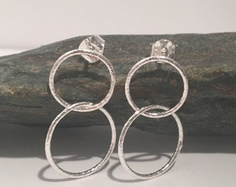Double Hoop Earrings. Sterling Silver sparkle double hoop earrings.