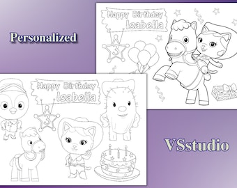 Personalized Sheriff Callie Birthday Party coloring pages, PDF file