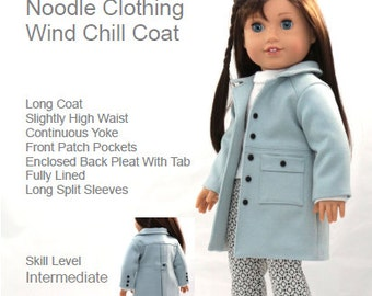 "18 inch Doll Clothes Pattern.  Noodle Clothing ""Wind Chill Coat"" PDF Pattern fits 18 inch dolls like American Girl®"