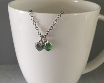 August birthstone necklace, peridot birthstone necklace, august necklace, peridot necklace, green pendant necklace, green necklace