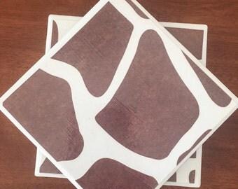 Giraffe coasters, animal coasters, ceramic tile coasters, tile coasters, coaster set, drink coasters