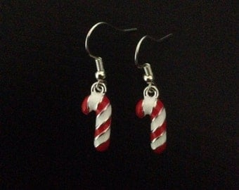 Festive candy cane earrings