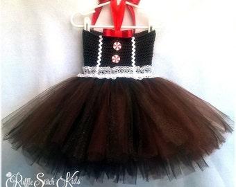 Custom Gingerbread Girl Hand Crochet Tutu Dress Newborn-3T