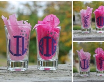 Big Little Shot Glasses, Sorority Shot Glasses, Big Lil Shot Glasses,