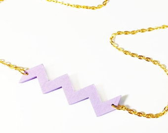 Geometric Necklace, Chevron Necklace, Zig Zag Necklace, Modern Jewelry, Geometric Jewelry, Chevron Necklace, Hand Painted Wood Necklace