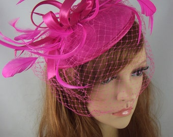 Fuchsia Pink Felt Hat Fascinator With Satin Loop & Birdcage Veil - Wedding Races