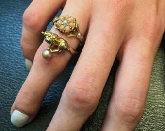 Antique 18ct gold Coral and Split Pearl Flower Ring.