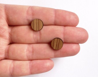 Earstuds round mini, earpins, made out of bamboo, round earpins, stud earrings