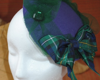 Tartan hat, fascinators, tartan bows, hair accessories, wedding hat, purple hat, hand made in Scotland