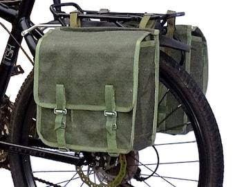 1980s Genuine Army Surplus Showerproof Canvas Pannier Bags pair retro vintage green large bike panniers rainproof NOS