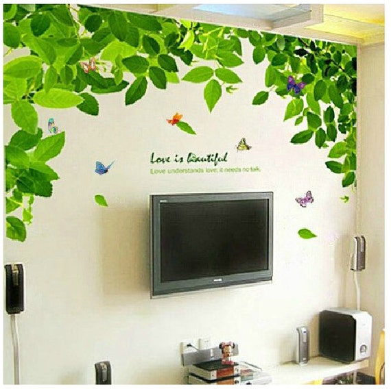 Green Tree Wall Decals Green Leaves Vinyl Wall Decals - Wall decals leaves