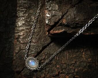 Zaria- Silver Moonstone Necklace, Moonstone Choker, moonstone pendant, moonstone necklace, boho necklace, vintage moonstone necklace, ethnic