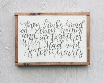 Acts 2:46 || wood home decor