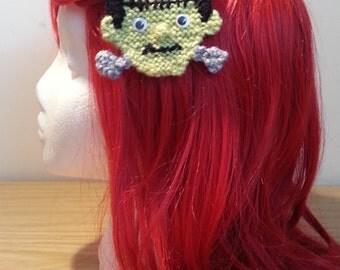 Handmade Knitted Frankenstein Hair Clip