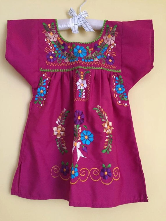 Mexican tunic embroidered flowers baby girls hippie dress