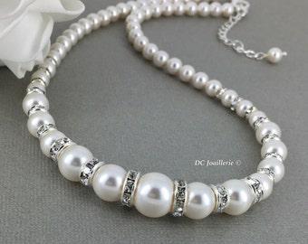Swarovski Pearl Necklace, Pearl Necklace, Swarovski Necklace, Bridal Jewelry, Bridesmaid Necklace, Bridesmaid Gift, Bridal Necklace