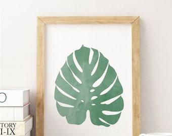 Monstera Leaf Print, Tropical Art, Cheese Leaf, Cheese Plant, Palm Leaf Art Print, Watercolour, Monstera Leaf Art