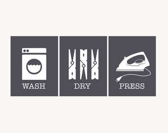 Laundry Room Art Prints - Wash Dry Press - Laundry Room Decor - Set of Three - Charcoal Grey