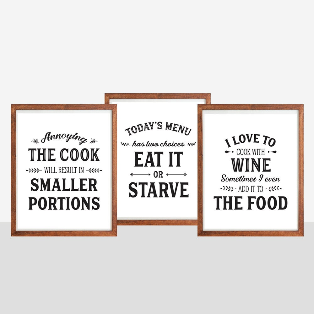 Set of kitchen prints kitchen quotes funny kitchen by for Kitchen quotation