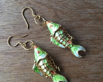 Vintage Chinese Enamel Gold Fish from the 80s Earrings