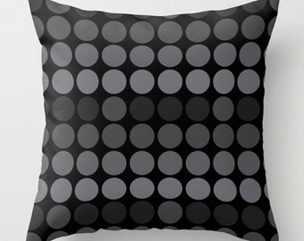 Grey Black Cushion, Dots Throw Pillow, Modern Decorative Pillow, 16x16 18x18, Circle Pattern Pillow Cover and Insert, Spots Decor Pillow