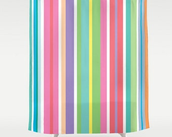 Stripes Shower Curtain, Large Shower Curtain, Striped Shower Curtain, Colorful Bath Curtain, Shower Curtain 71x74