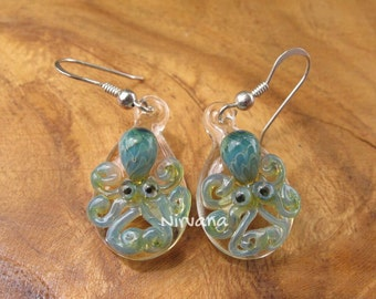 Custom Made Glass Exotic Light Green Octopus hanging earrings on .925 Sterling Silver ear wires (Free Shipping from Thailand) - 1 Pair