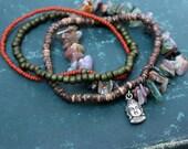 Autumn Buddha Multi Strand Stretch Bracelet - Fall Colors
