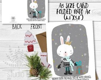 Bunny Christmas Cards, SET OF 4 Xmas holiday card, Christmas Card, real glitter, xmas card, bunny card, glittery card, Xmas greeting card