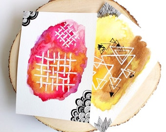 Handpainted Postcard set, Abstract watercolor, Geometric art, Watercolor art, Original watercolor, anniversary gift
