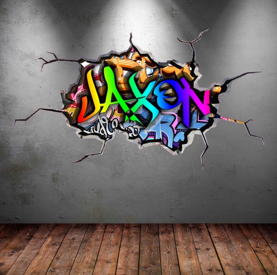 Personalised Graffiti Name Wall Decal Cracked Wall 3D Vinyl
