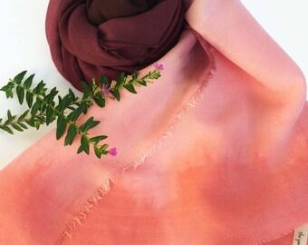 Burgundy scarf, wine scarf, pink scarf, Peach scarf, shibori scarf, ombre scarf, wool/silk scarf, hand dyed, handmade scarf, Fall trend