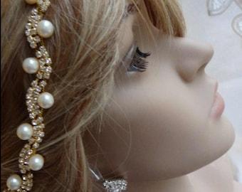Bridal Rhinestone and Pearl headband, Wedding Headband, Bridal Hair Accessory, Wedding Hair Piece
