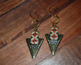 Tribal inspired antique gold dangle earrings