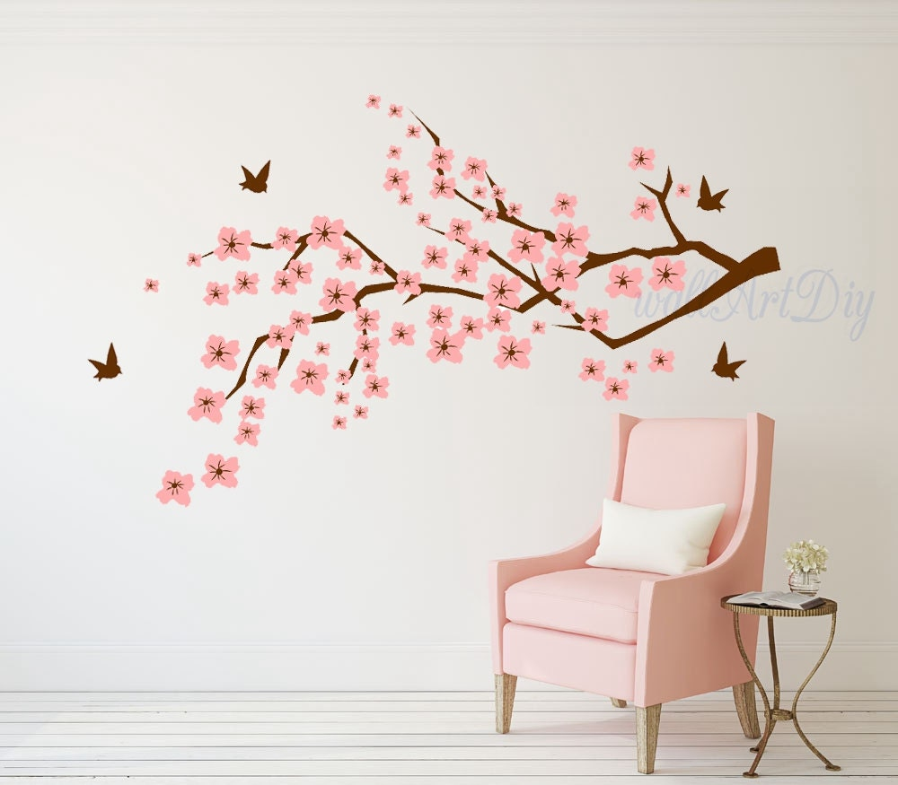 D calque de mur fleur de cerisier mural autocollant cerisier - Stickers pour fenetre leroy merlin ...