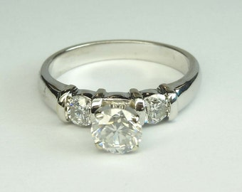 Vintage 14Kt White Gold Three Stone Diamond Engagement Ring 1.21 ct tw