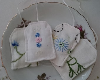 Pretend Tea Bags, Play Tea Bags, Re-Purposed Vintage Linens, Vintage Embroidered Flowers, Pretend Tea Party, Stocking Stuffers, Gift Ideas
