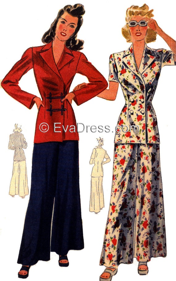 1940s Sewing Patterns – Dresses, Overalls, Lingerie etc 1945 Wide Leg Trouser and Jacket Louning Ensemble 40 to 46