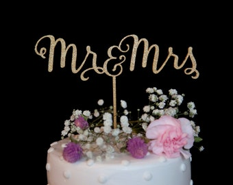 Mr and Mrs Calligraphy Wedding Cake Topper