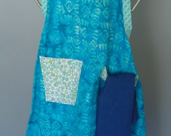 apron, blue, towel , handcrafted